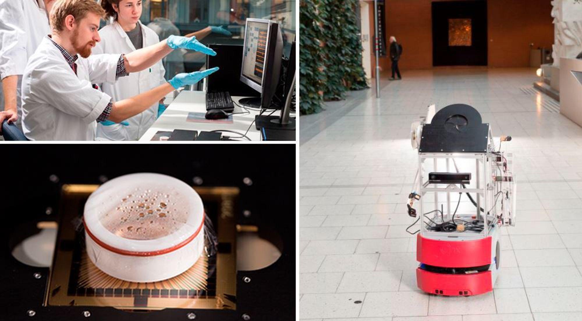 Roboten (høyre) skal bli til en cyborg, en blanding av robot og levende biologisk materiale. NTNU-forskere dyrker hjerneceller (nederst til venstre) og bruker en nerveteknikk for å lage en kobling mellom biologisk hjernevev og en datamaskin. Øverst til venstre: Stipendiatene Ola Huse Ramstad og Rosanne van de Wijdeven.