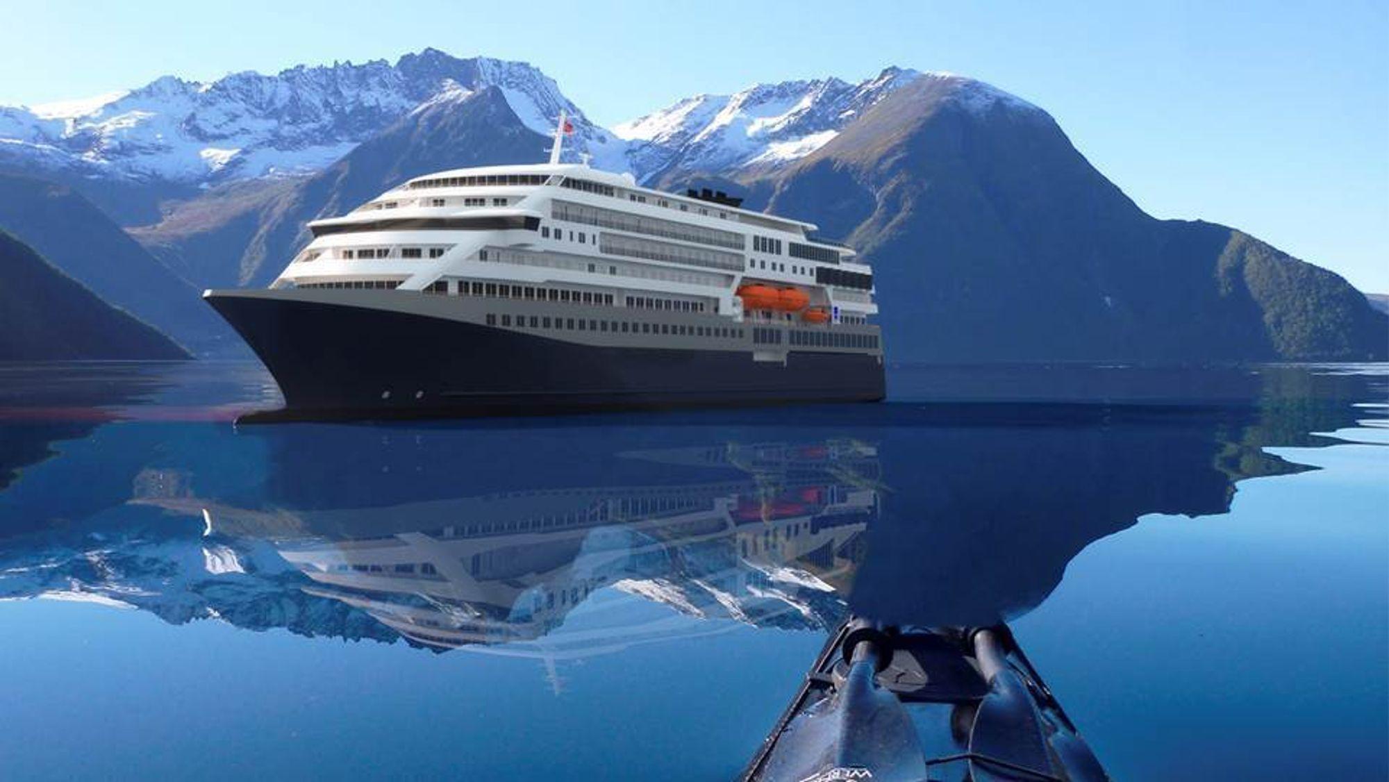 Nye kystruteskip for Bergen-Kirkenes kan ha 60 prosent lavere CO2-utslipp sammenliknet med de nye ekspedisjonsskipene til Hurtigruten. Med batteridrift ladet fra landstrøm, kan skipet gå rundt fire timer på batteri, blant annet i Geirangerfjorden og til og fra kai.
