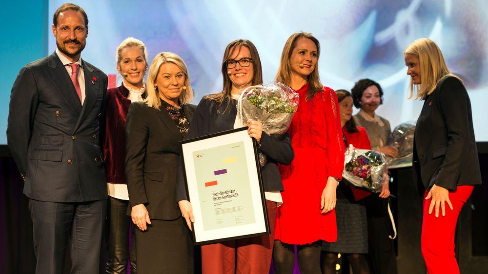 Fra venstre: Kronprins Haakon,Anita Krohn Traaseth, Monica Mæland, Nuria Espallargas, Linda Hofstad Helleland og Mette Marit.