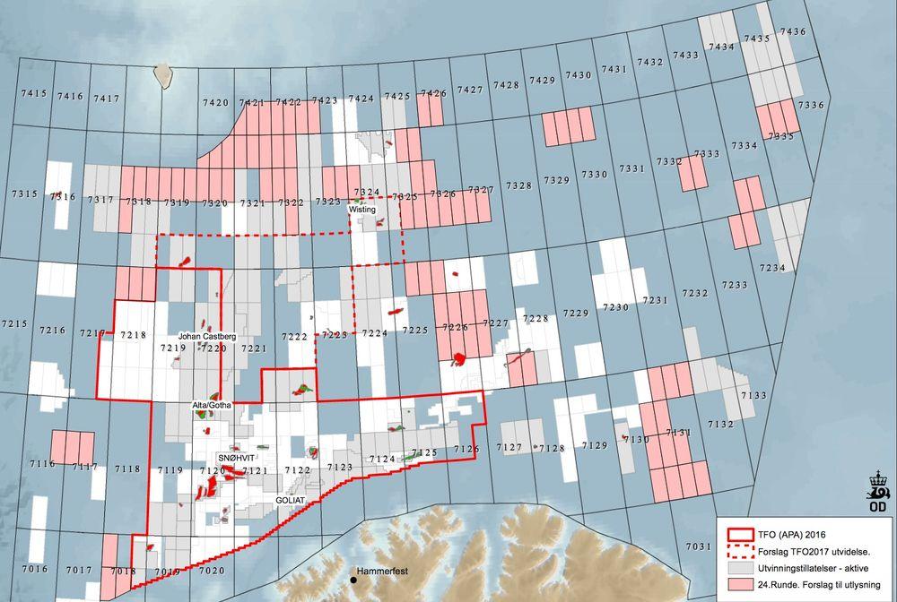Her er blokkene (rosa) som myndighetene foreslår å åpne for leting i 24. konsesjonsrunde. De grå feltene er allerede åpnet. Bjørnøya ligger øverst mot venstre.