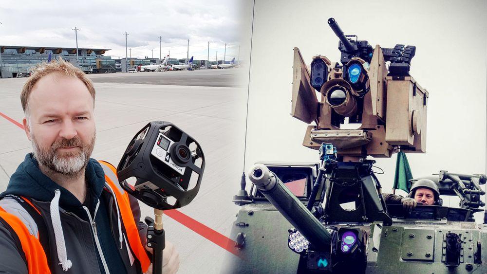 TU har vært høyt og lavt med 360/VR-kamera det siste året. Til venstre ses TUs multimediasjef Eirik Helland Urke under opptak på Oslo lufthavn, til høyre er våre VR-kameraer montert på en stridsvogn. (Foto: Eirik Helland Urke)