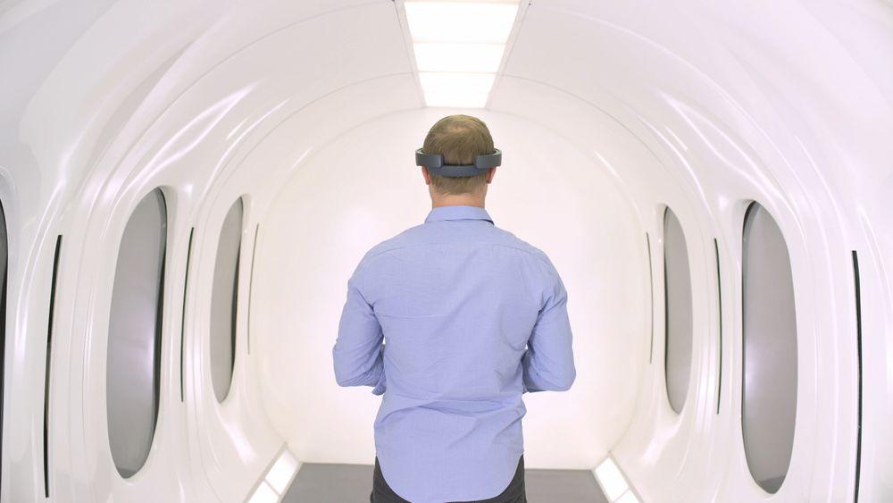 Fra en VR-demonstrasjon av Hyperloop-kapsel.