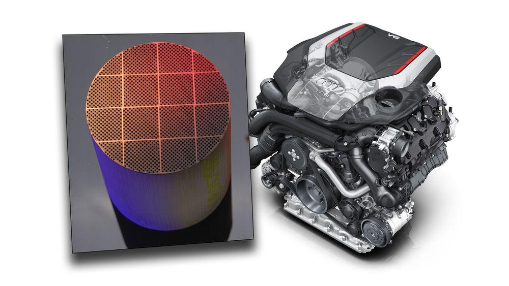I år får bensinbilene også partikkelfilter. Bildet viser et silisiumkarbidfilter, og Audis direkteinnsprøytede TFSI-motor, som får partikkelfilter i år.