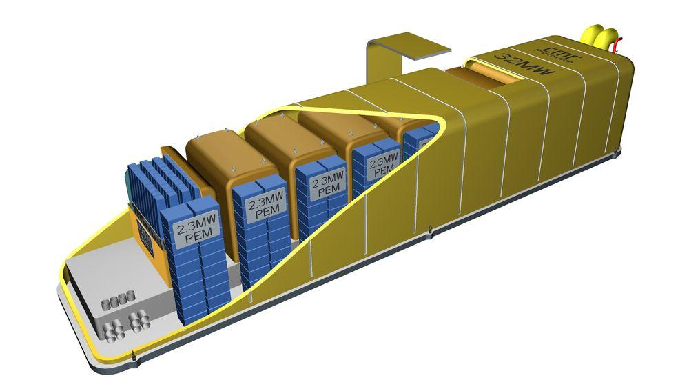 En brenselcelleløsning som yter 32 megawatt med brenselceller som går på naturgass og hydrogen er under utvikling av CMR Prototech i samarbeid med Statoil og Shell.