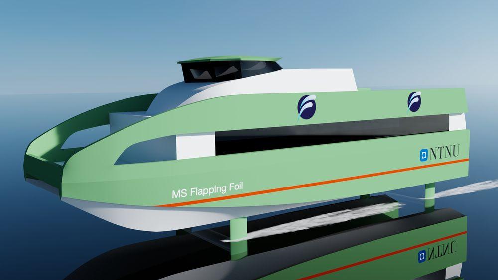 Illustrasjon av framtidig hurtigbåt med Flapping Foil.