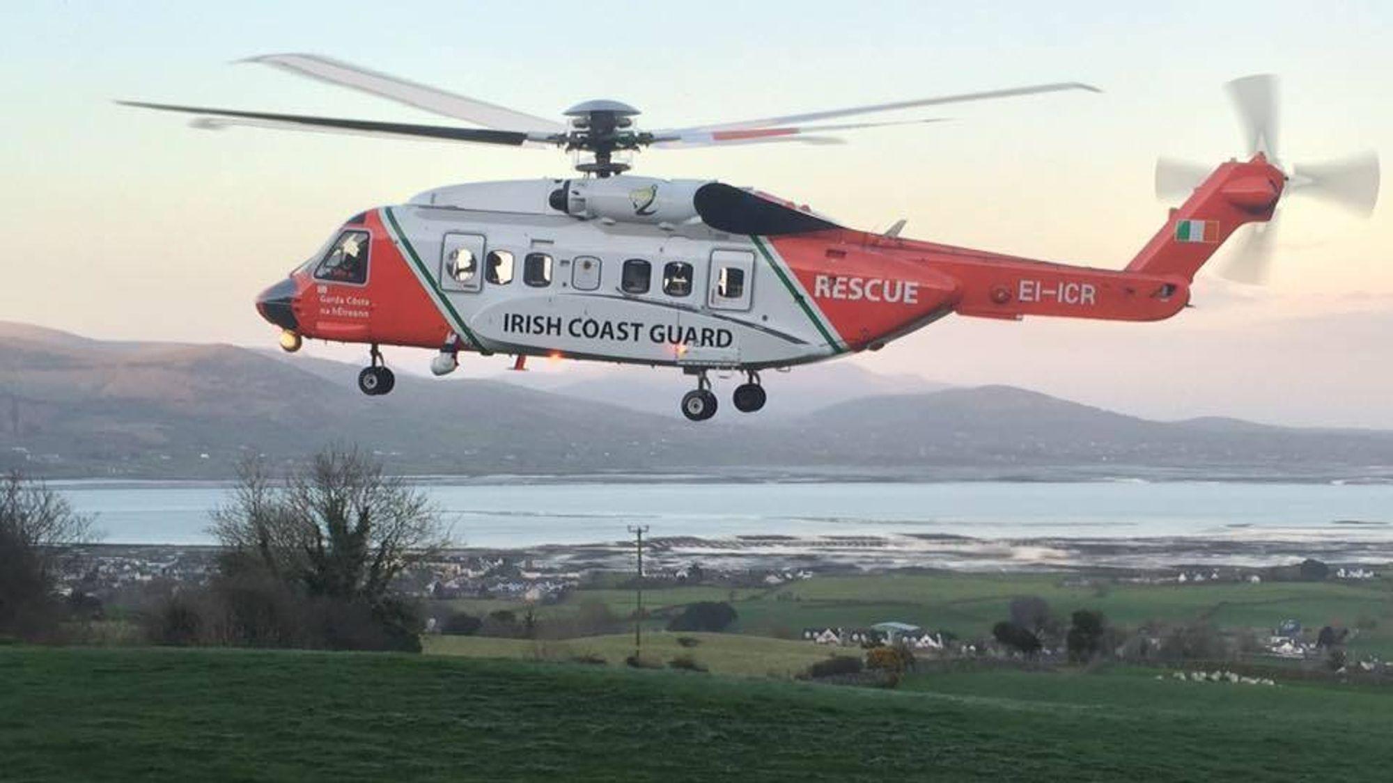 Det var dette helikopteret (EI-ICR) som havarerte for tre uker siden under et redningsoppdrag. Alle fire besetningsmedlemmene omkom.