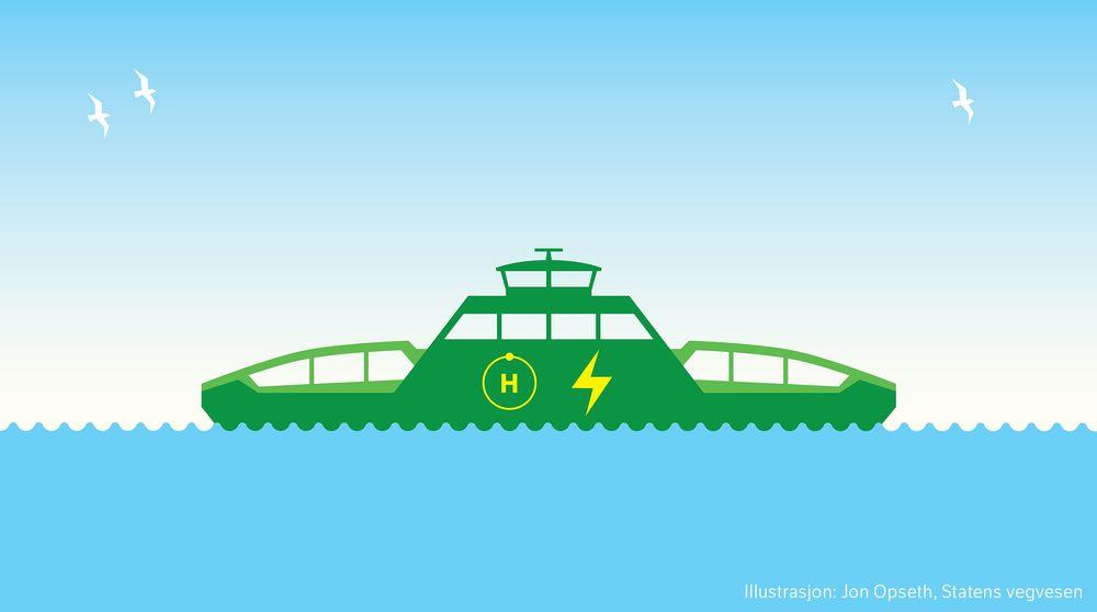 Symbolet for Statens vegvesens hydrogen-elektriske fergeprosjekt. Målet er å ha en fullt operativ ferge som bruer minst 50 prosent hydrogen til framdrift.