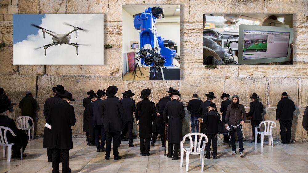 Jøder ber ved Vestmuren, eller Klagemuren, i Jerusalem. Israel er preget av religion, men også av høyteknologi.