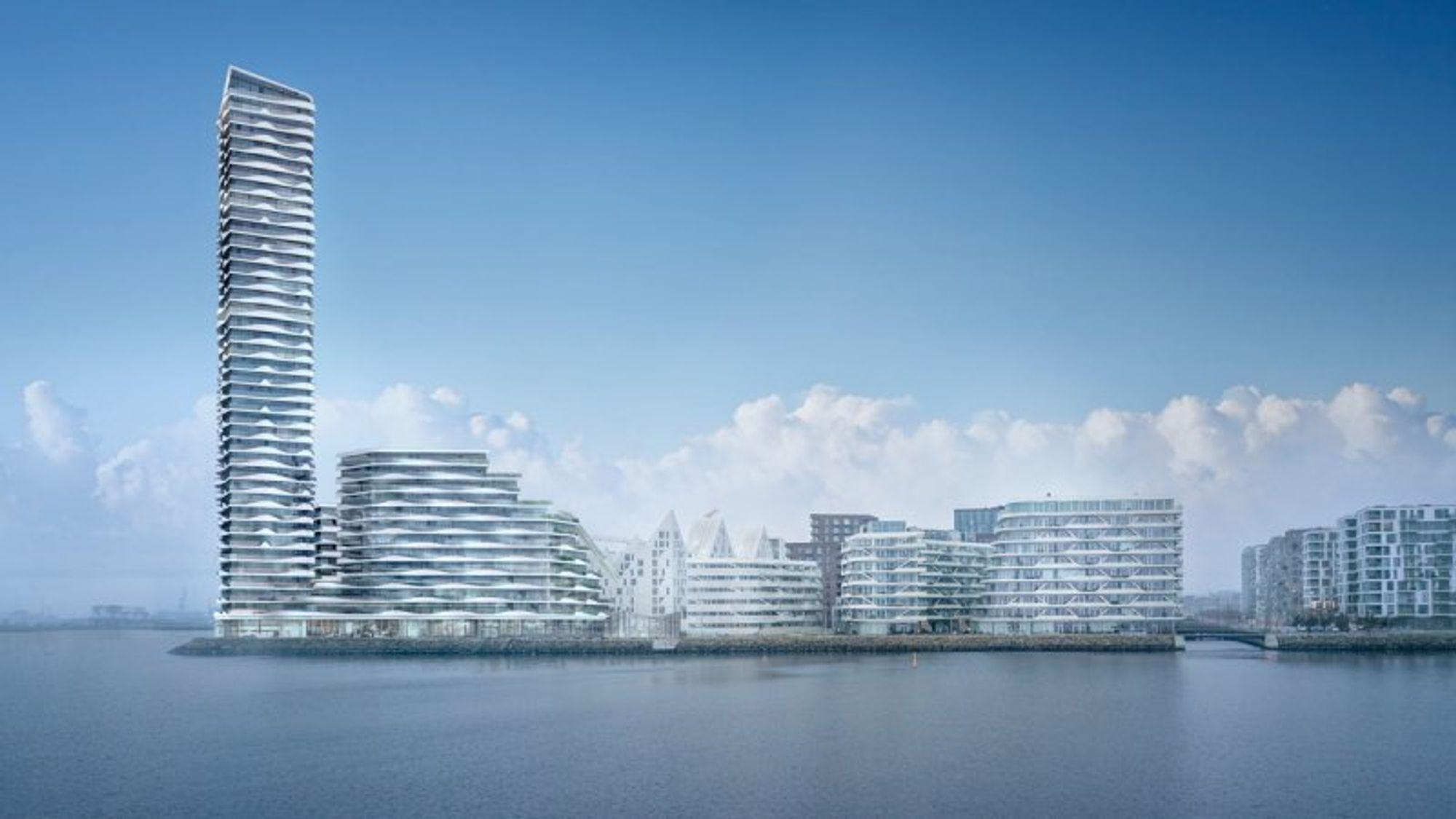 Det nye høyhuset i Aarhus skal etter planen overgå Herlev Hospitals 120 meter, hvis den plastiske leiren i grunnen tillater det.