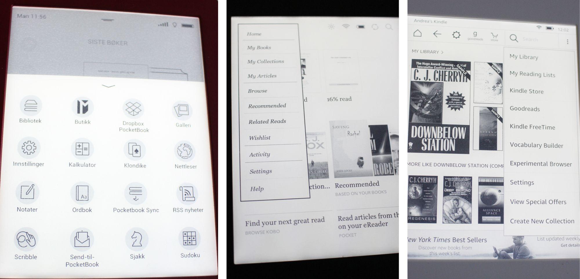 81a2cc98 Lesebrettene har litt forskjellige menyer. PocketBook (til venstre) skiller  seg fra Kobo (