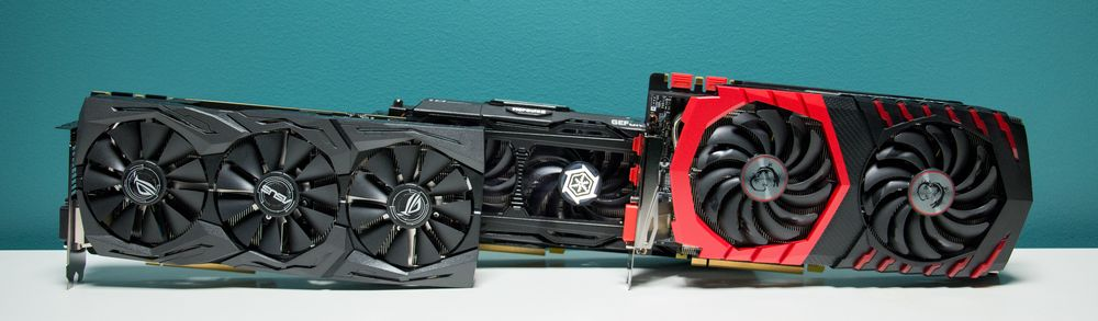 Fra venstre finner vi Asus Strix OC, Inno3D iChill X3 Ultra og MSI Gaming X.