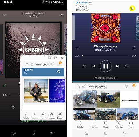 Å gjøre mange ting på samme skjerm er ekstra aktuelt når skjermen er så stor som den er i Galaxy S8+. Ved siden av vanlig skjermdeling kan du ha et flytende vindu over skjermen.
