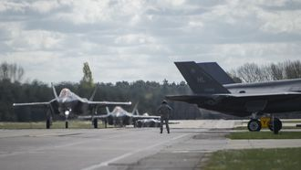 F-35A fra 34th Fighter Squadron takser på RAF Lakenheath i England 15. april.
