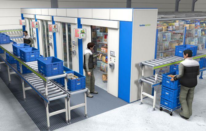 Lagerautomater, her en horisontal karusell (paternoster), bringer varene frem til plukkåpningen. Mest vanlig er vertikale automater som gjør at man kan utnytte takhøyden effektivt.