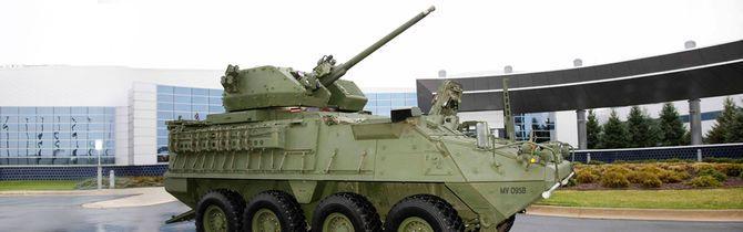 En av åtte prototyper av den oppgraderte Stryker-vogna.