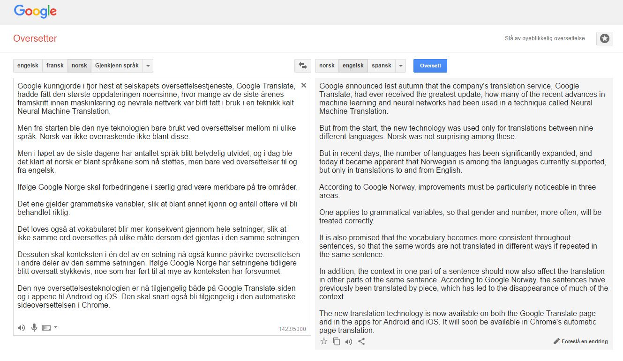 google oversetter med stemme