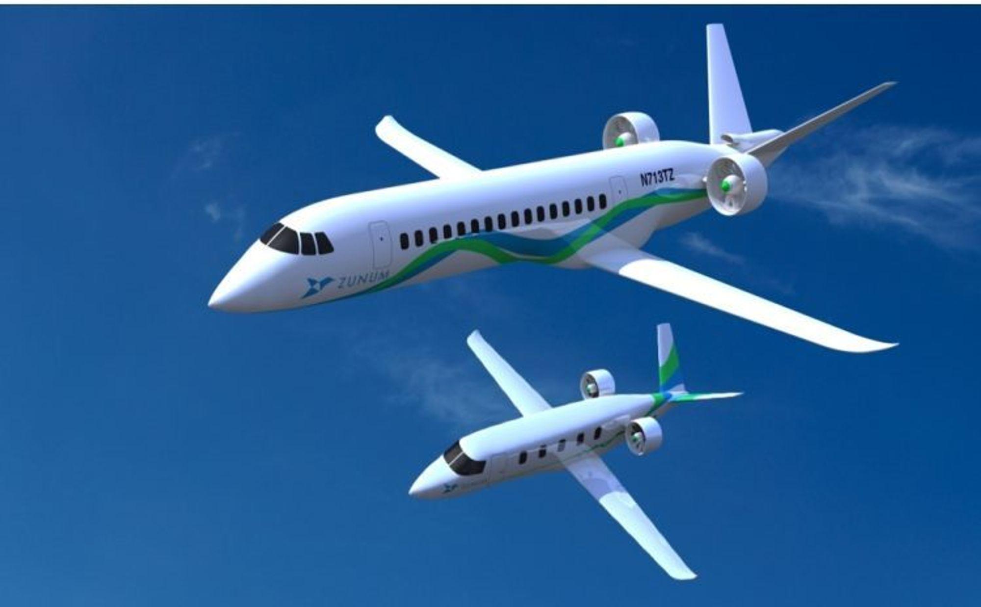 Det nystartede flyselskapet Zunum Aero har planer om å kunne transportere opptil 50 passasjerer i et el- eller hybridfly.