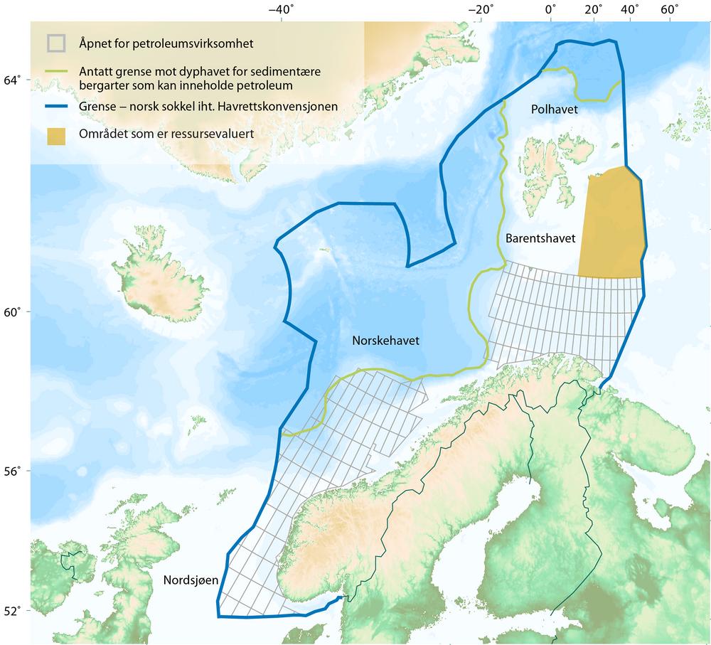 Kart over norsk sokkel med det nye området markert.