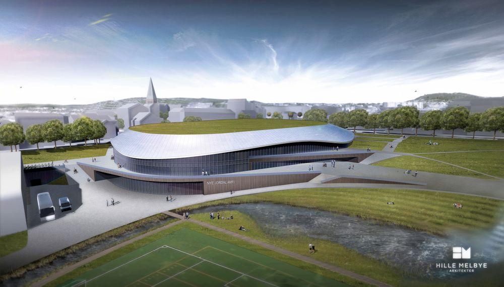 Nye Jordal Amfi bruker mer eller mindre det samme arealet som den forrige stadion. Men smuldrende betong og gammelt treverk er byttet ut med glassfasade, grønt tak og solceller.