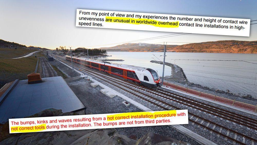 I bare litt over halvannen måned kunne togene kjøre i 200 km/t langs Mjøsa. En rapport fra en tysk ekspert er sterkt kritisk til arbeidet med kontaktledningen.