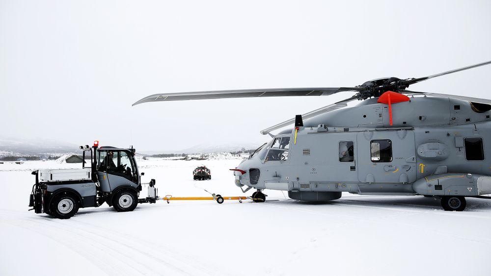 Et NH90 på Bardufoss vinteren 2014.