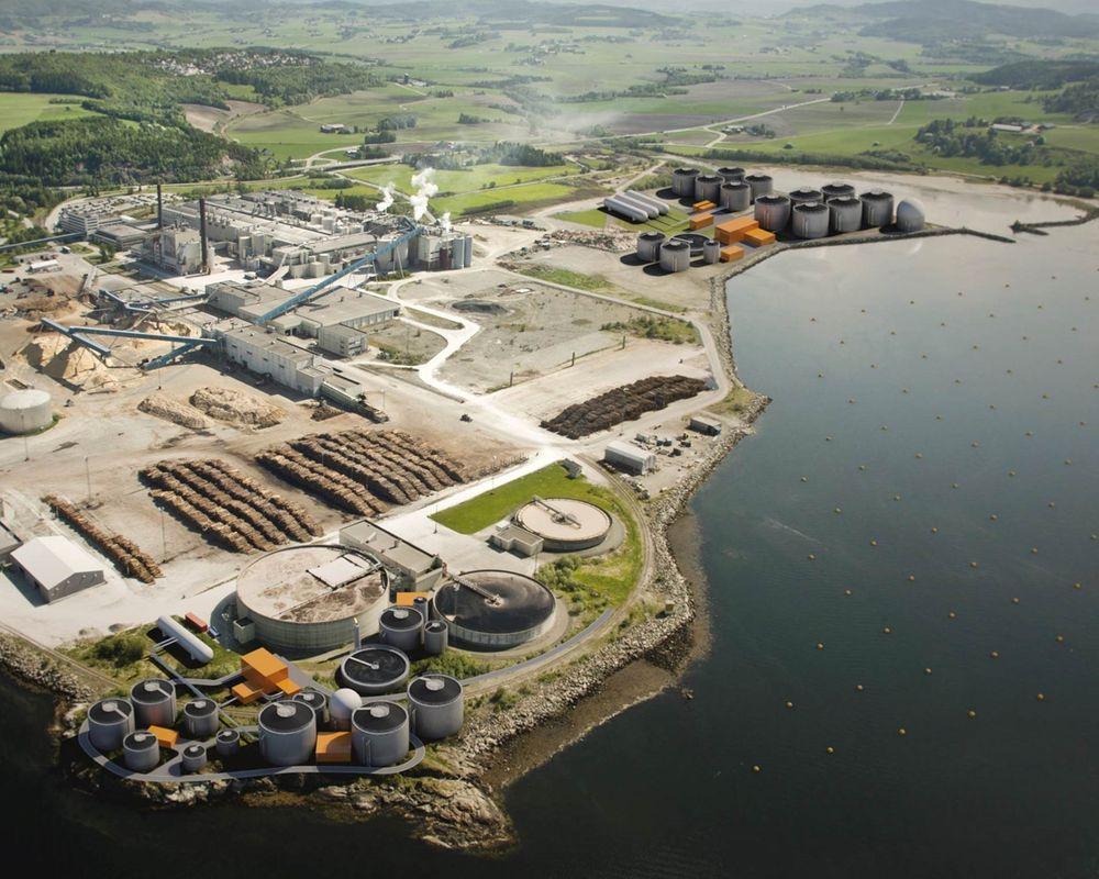 Illustrasjon av Biokrafts biogassanlegg, første og andre byggetrinn. Første trinn vil stå klart i november i år.
