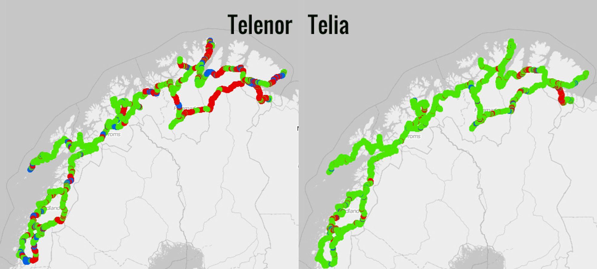 I Nord-Norge er det svært stor forskjell på 4G-dekningen til de to operatørene. Telia har 4G nærmest overalt, mens Telenor fortsatt har store strekninger med 2G. Rødt er 2G, blått 3G og grønt 4G.