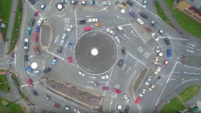 Her er rundkjøringen som har syv rundkjøringer i ett