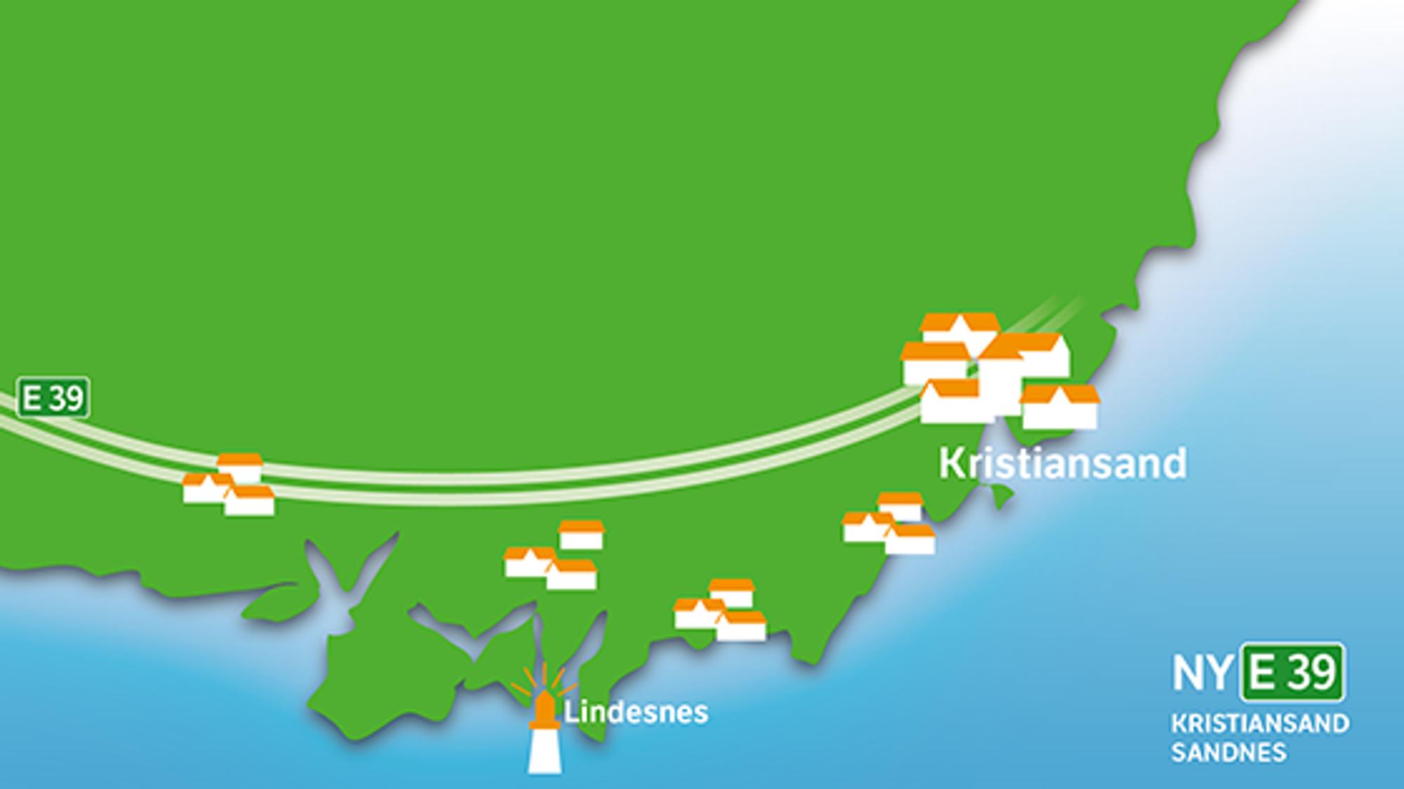 E 39 mellom Lyngdal og Kristiansand blir firefelts motorvei, med fartsgrense på 110 km/t.