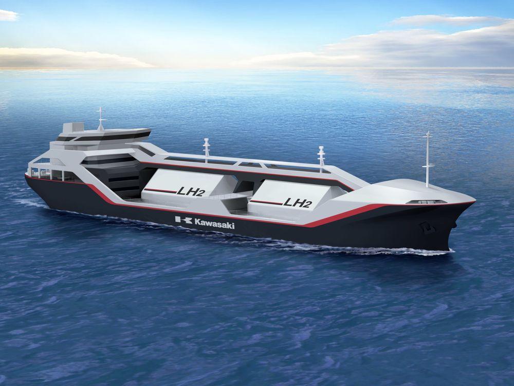Byggingen av verdens første spesialskip for hydrogentransport er i gang i Japan. Hver av de to sylindriske tankene måler 17 meter i lengde og 10 meter i diameter.