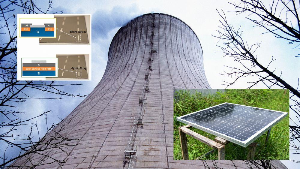 Eliminert: Hvert år kan et nytt gass- eller kullkraftverk erstattes av merproduksjonen fra en ørliten modifikasjon av elektroden på solcellene som produseres i verden (oppe til venstre). Illustrasjonsbilde av et kullkraftverk.