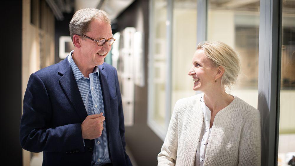 Randi Marjamaa i Nordea Liv ogadm. dir. Idar Kreutzer i Finans Norge.