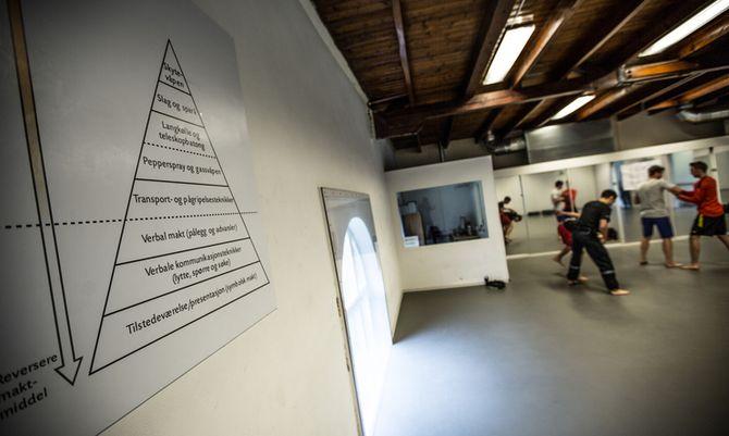 PYRAMIDEN: Maktpyramiden er en sentral del av utdanningen på PHS. Den henger i klasserom og treningssaler, som her studentene trener på arrestasjonsteknikk.