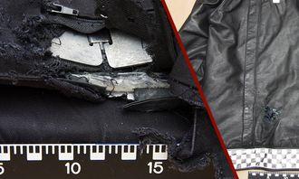 Bilder av vest og jakke som ble brukt under hendelsen.