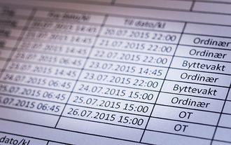 Slik ser timelistene PU har sendt Arbeidstilsynet ut. Her er sju fulle arbeidsdager for én ansatt på én uke.