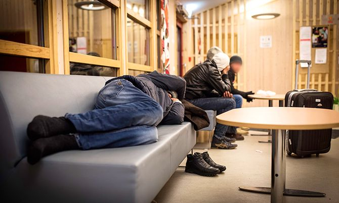 Asylsøkere på Storskog.