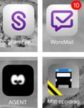 ShareFile, WorxMail, Agent og Mitt oppdrag er noen av appene politiet har utviklet selv til nettbrett. Noen av dem vil få støtte på Apple Watch også.