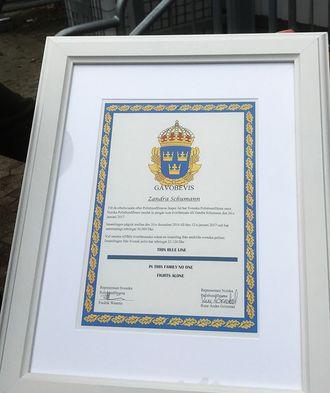 Beviset på donasjonen fra norske og svenske kolleger.