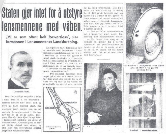 Da Olaf Taarneby ble drept i 1938, kom generell bevæpning av politiet på agendaen.