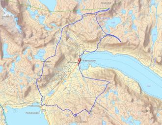 """RUTE: Dette er ruta Tommy Støa valde under løpet. GPS-spor frå """"lommekjent.no""""."""
