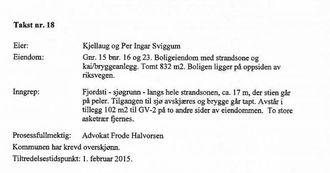 SVART PÅ KVITT: I skildringa av eigedomen skriv lagmannsretten at huset til Kjellaug og Per Ingar Sviggum ligg over riksvegen.