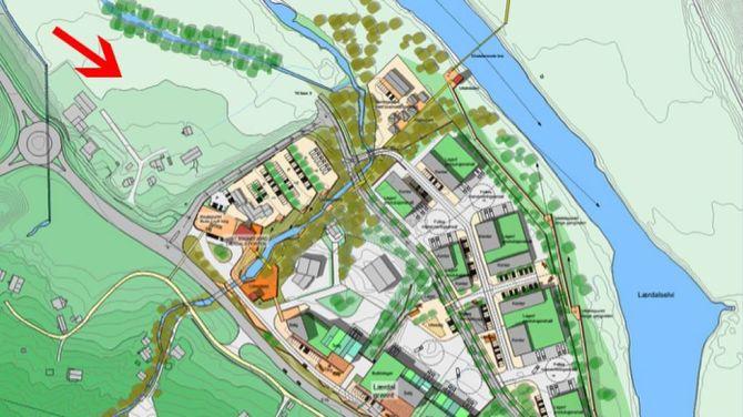 FABRIKK: Industrien kan hamne på arealet nordvest på området rundt Håbakken. Teikning: Cubus/Porten.no.