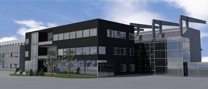 GRÜNDERLOKOMOTIV: Innovasjonsbygget har ein prislapp på 50 millionar og tek opp1500 kvadratmeter over tre etasjar. Illustrasjon: Arkitektkontoret 4B.