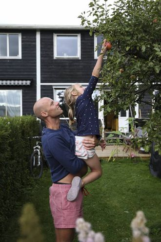 HAGELIV: Eigen hage står høgt på ønskelista til nordmenn. Andreas Almlid og dottera Agnes kan nyte eple frå eigen hageflekk.