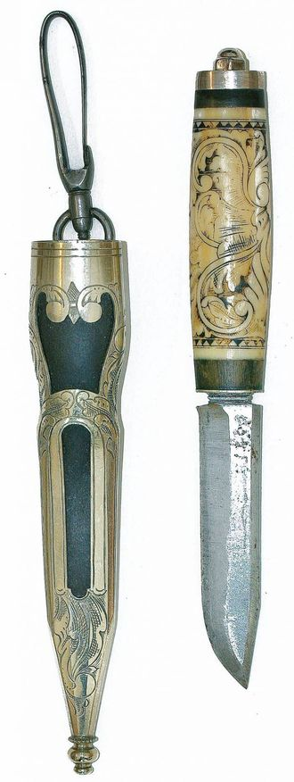 Denne staskniven er laga av ein av Svangabrørne frå Bulken ved Voss. Ein veit ikkje sikkert kven av dei. Foto frå boka: Øystein Køhn