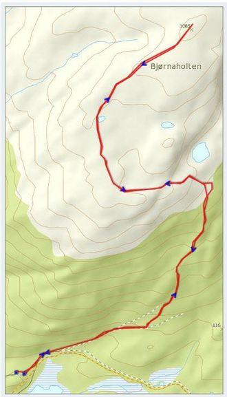 KART OVER TUREN: Statkart via Peakbook.org og påskrift av Jonny Asperheim