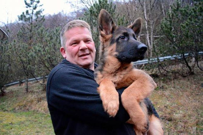 HOBBY: Leiar i Årdal hundeklubb John Berg har tre hundar. Her har han med seg Gismo, ein shæferhund på 16 veker.