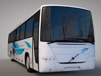 NY INNPAKNING: Bussane som trafikkerer fylkeskommunale bussruter i fylket, skal i framtida sjå slik ut. Illustrasjon: A til Å Grafisk Design og Media