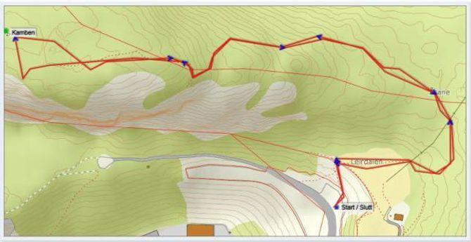 Kart: Statkart med påteikna GPS-track av Jonny Asperheim