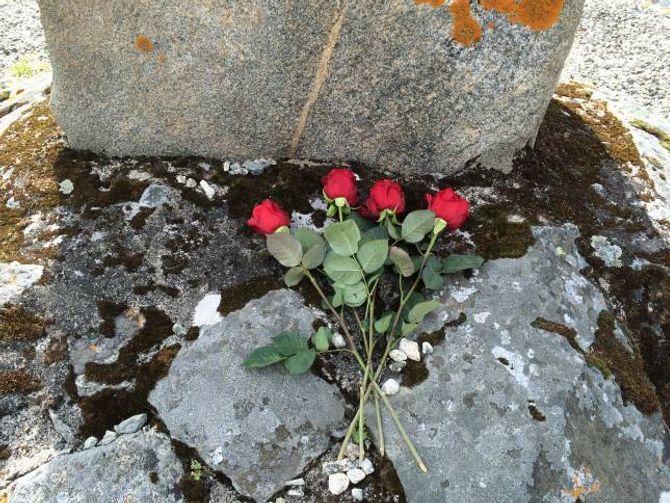 TIL MINNE: Som eit minne om dei fire norske soldatane som tapte kampen på Borlaug under krigen, ville 9. klasse legge ned roser på bautasteinen på Lærdalsøyri, ei rose for kvar av soldatane.
